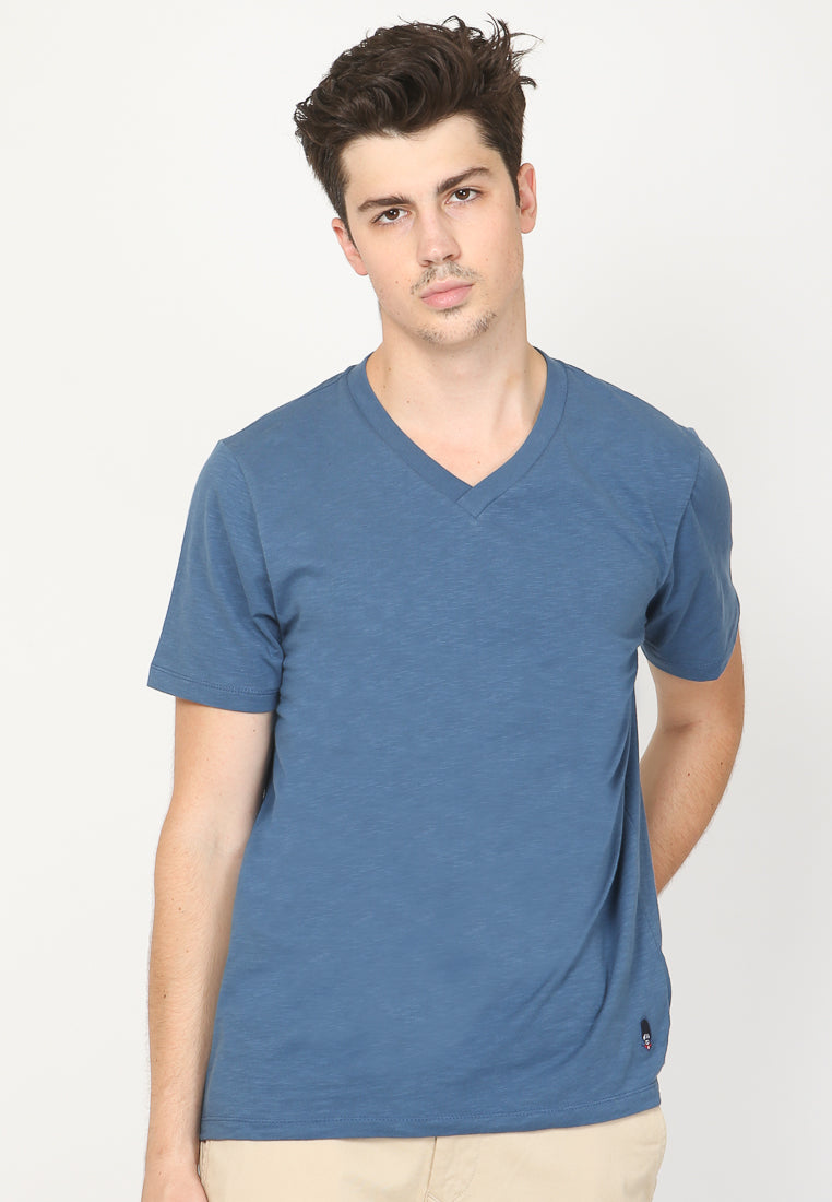 GUARDIAN V NECK SLUB IN NAVY