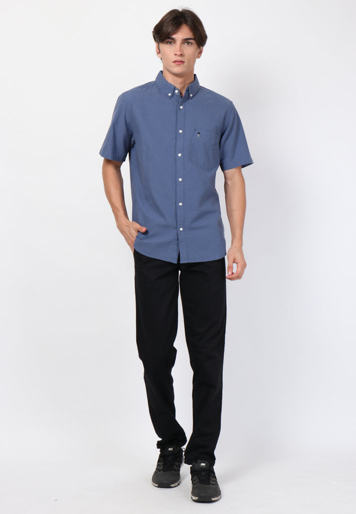 Skelly Guardian Hiro Oxford Classic SS Shirt in Navy