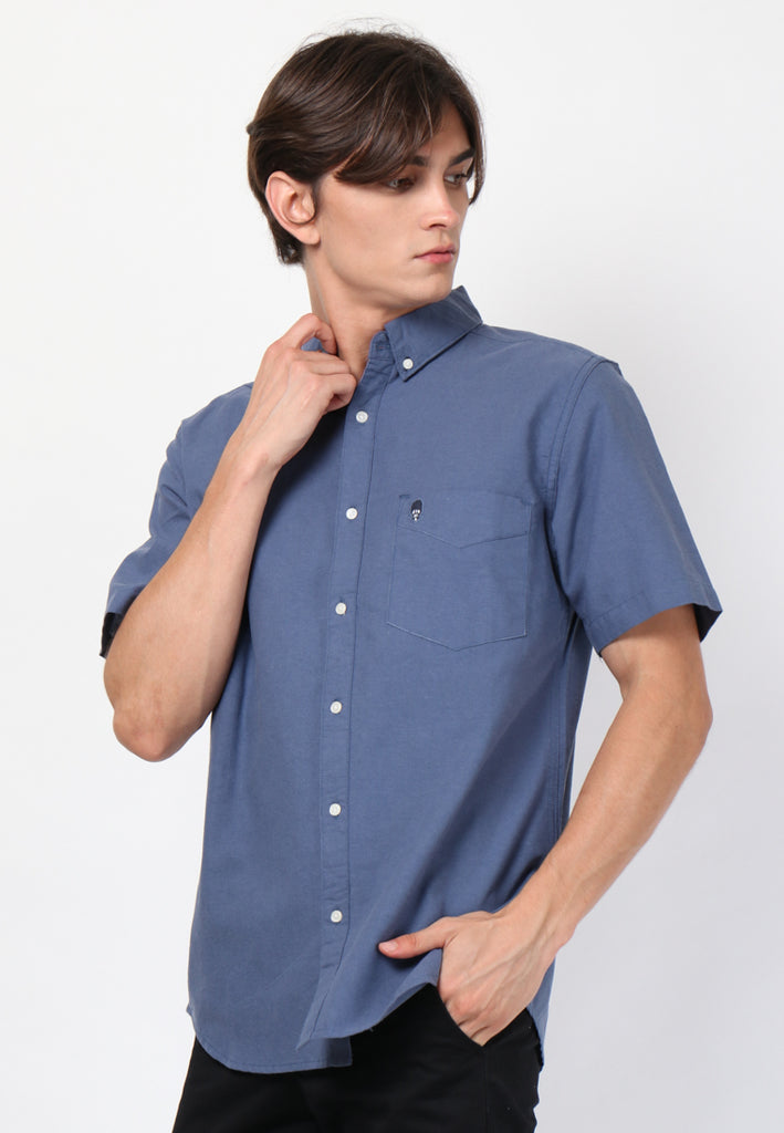 Guardian Hiro Oxford Classic SS Shirt in Navy