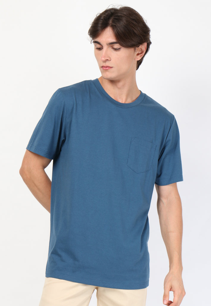 The Inventory Crew Neck Pocket Navy T-Shirt