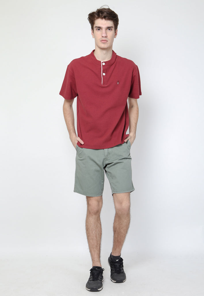 Talon Stand Up Collar Henley Maroon