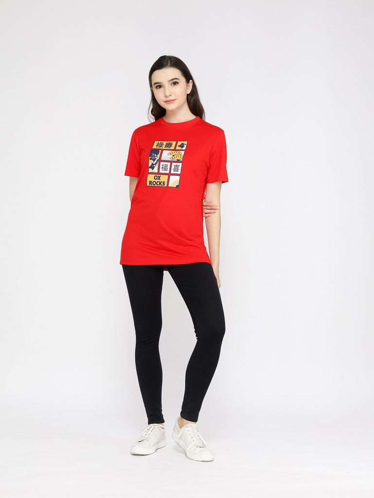Ox Rocks Special Ladies Red Graphic T-Shirt CNY Special