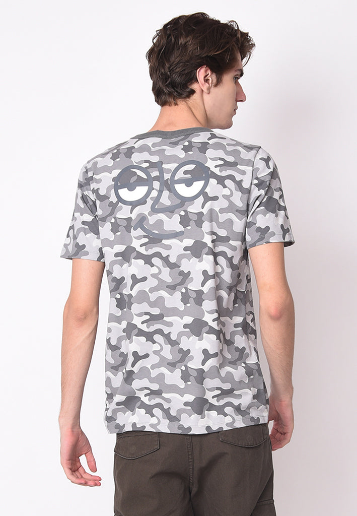 Skelly Ace Face Camo Full Printed T-shirt in Grey