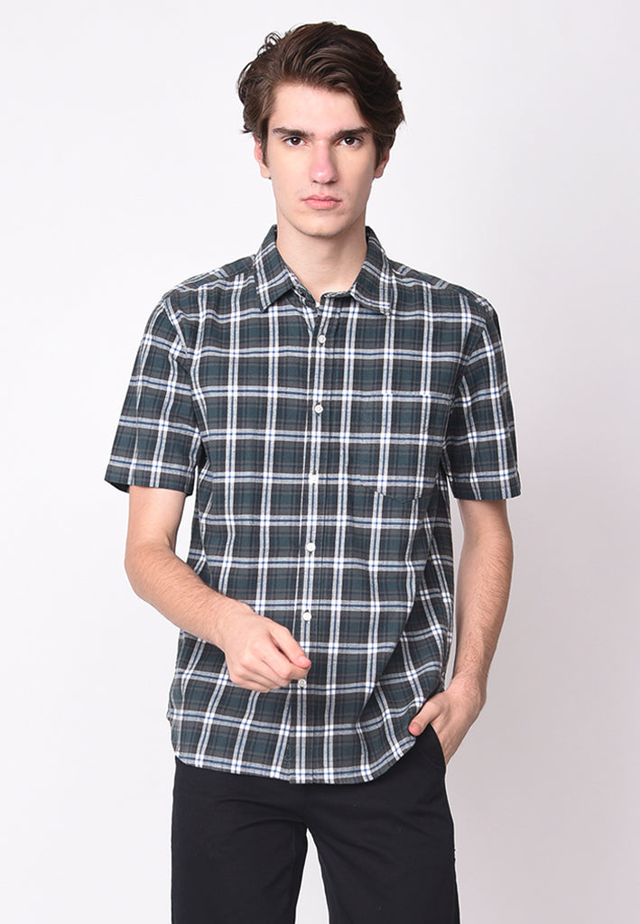 Jamie Short Sleeve Flannel Shirts in Green Blue