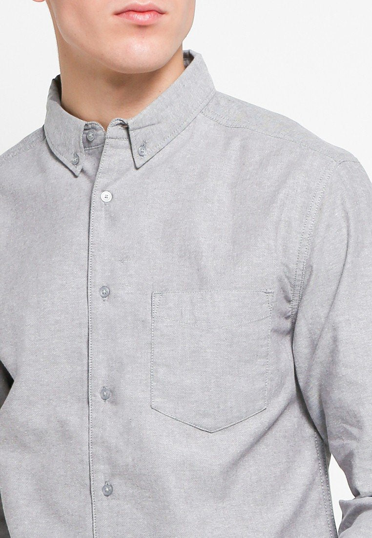 John Long Sleeve Shirts in Pirate Black Oxford - Skelly Indonesia - The Original Graphic Tees, Comfortable Basic - www.skellyshop.co.uk
