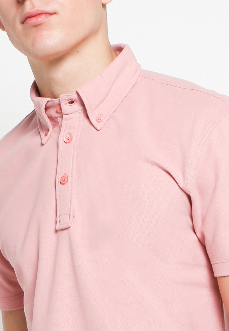 Button Down Polo in Bridal Rose - Skelly Indonesia - The Original Graphic Tees, Comfortable Basic - www.skellyshop.co.uk