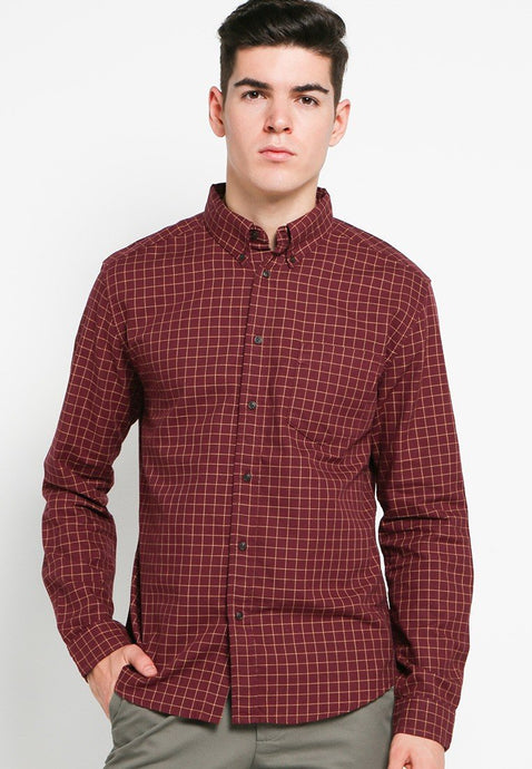 Ebbet Premium Cotton Shirts in Burgundy - Skelly Indonesia - The Original Graphic Tees, Comfortable Basic - www.skellyshop.co.uk