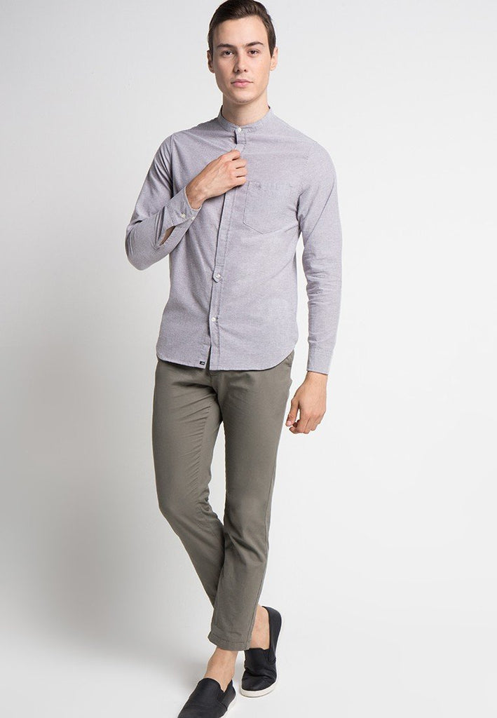 Alan Shirt in Grey Oxford - Skelly Indonesia - The Original Graphic Tees, Comfortable Basic - www.skellyshop.co.uk