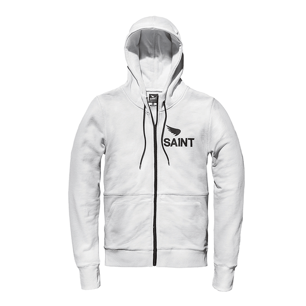Saint Hoodies are constructed with heavy weight 400gsm un-brushed Japanese quality fleece. A double lined hood. Longer in the sleeves with a thumb hole to keep everything in place when your hitting the ton. They keep the warmth in with YKK zips that slide right up under your neck. Finished with custom pulls and internal bound seams.