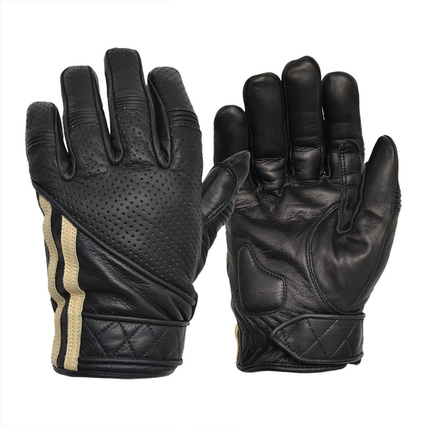 Goldtop England - Short Racing Stripe Cafe Racer Gloves