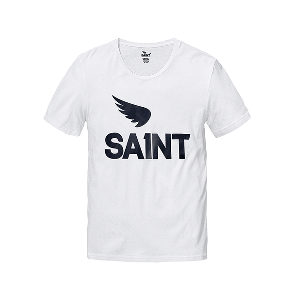 The Saint T's are slimming regular cut with shorter sleeves and an open neck. 160gsm 100% fine spun cotton.