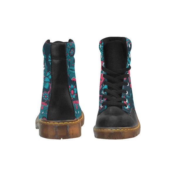Red Sugar Skull Winter Boots