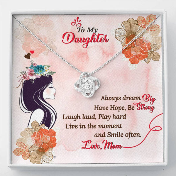 To My Daughter Love Knot Necklace