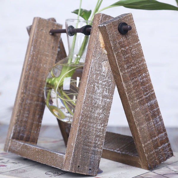 1. Vintage Style Glass Tabletop Plant