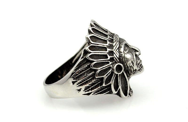 Tribe Indian Chief Stainless Steel Ring