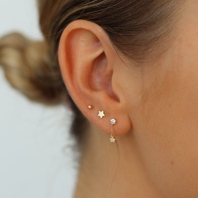 14k Gold Star Stud