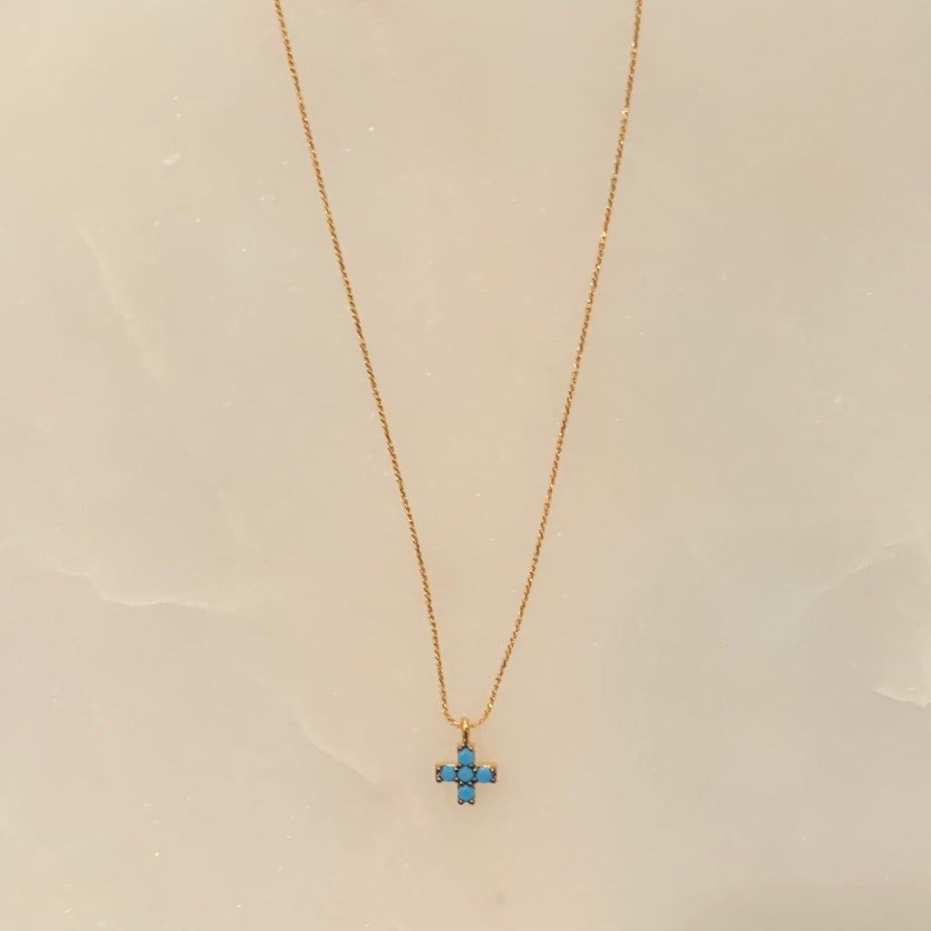 Globo Necklace Turquoise Cross