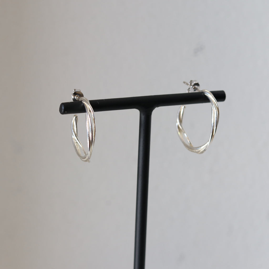 3 Twisted Band Silver earring,