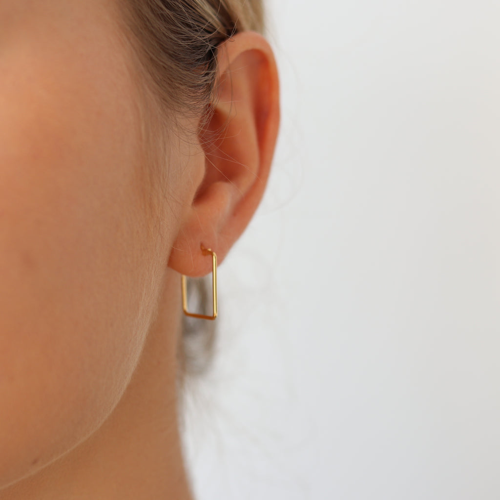 Rectangle Small Hoop Earring