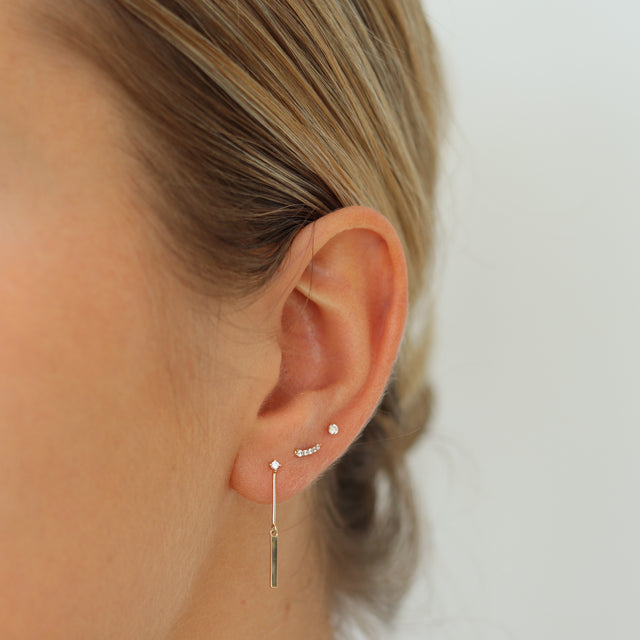 14k Gold Fine Line with Bar Earring