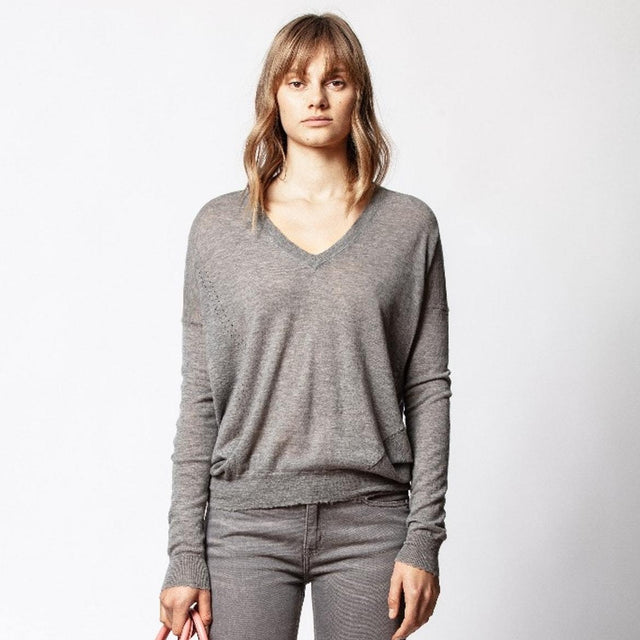 Brume Cashmere Sweater / Gris Chine