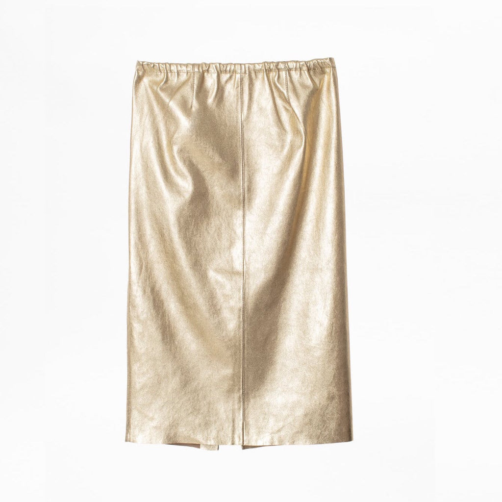 Jaden Metallic Leather Skirt