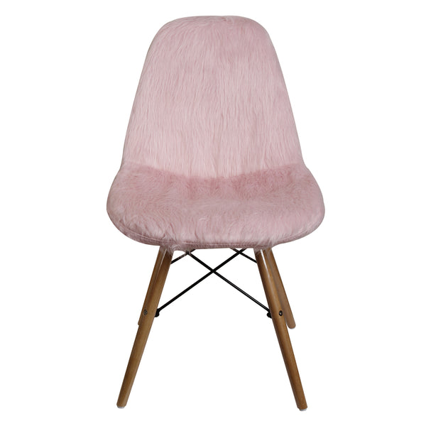 Pink Fur Vanty Chair/Armless Makeup Side Chair