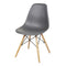 Dark Gray Armless Side Dining Chair Wood Legs