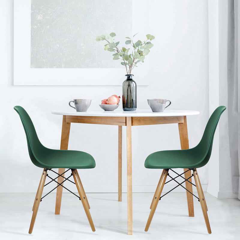 Dark Green Armless Side Dining Chair Wood Legs