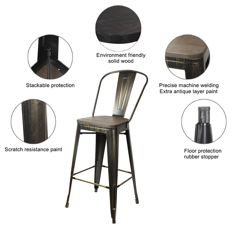 30'' Metal Bar Stool with Wood Seat