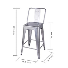 24 Inch Metal Stool with Wood Seat