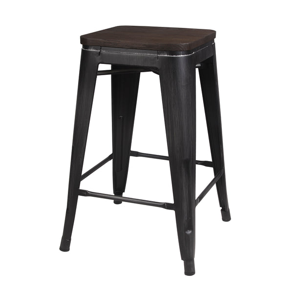 24 Inch Antique Metal Stool with Wood Seat