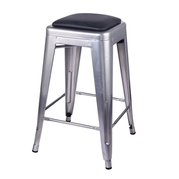 24 Inch Metal Stool with PU Seat
