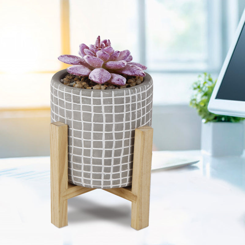 Artificial Succulent Fake Plant in Gray Cement Pot with Wooden Stand