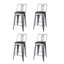 24 Inch Lowback Metal Stool with Wooden Seat