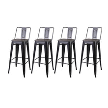 30 Inches Middle Back Metal Stool with Wooden Seat