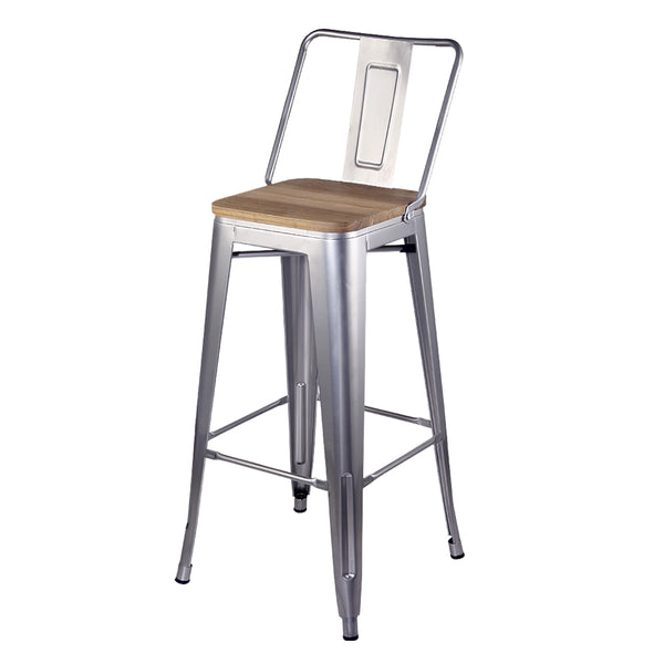 30 Inches High Back Metal Stool with Wooden Seat