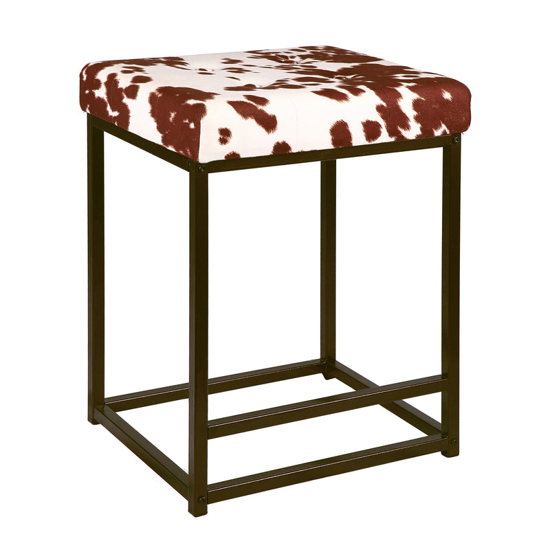 24 Inch Square Metal Bar Stool, Fabric Seat Counter Stool - 2 Pack