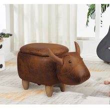 GIA El Toro Bull Kids Ottoman Stool with Storage, Foot Stand and Wooden Legs, Brown Cow