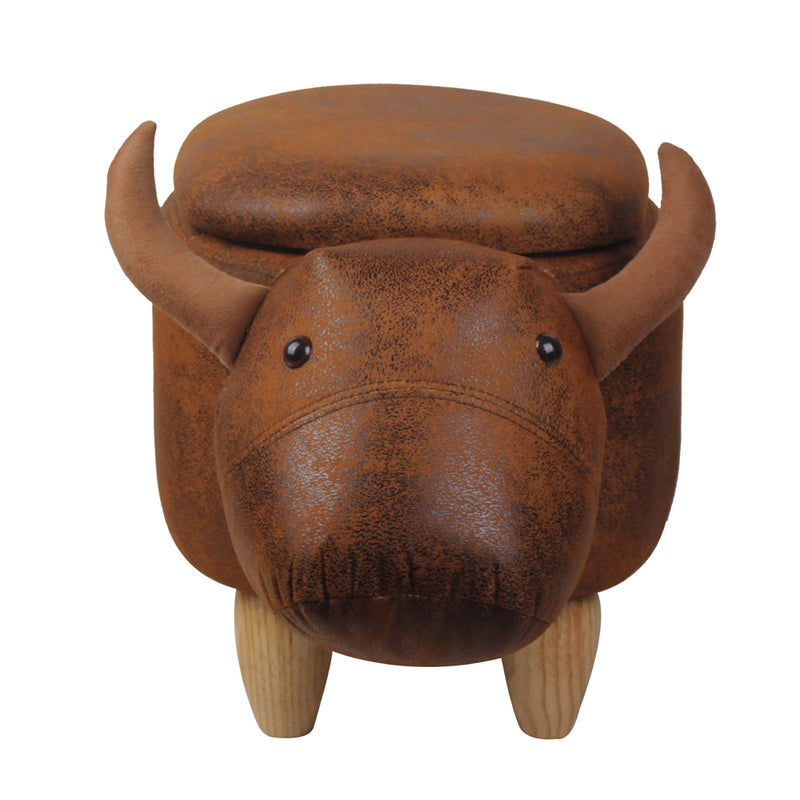 Brown Cow Ottoman Stool with Storage