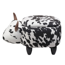 GIA Clarabelle Cow Kids Ottoman Stool with Storage, Foot Stand and Wooden Legs, Milk Cow