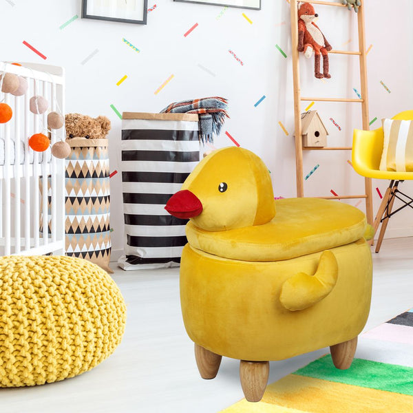 Yellow Duck Storage Ottoman Stool