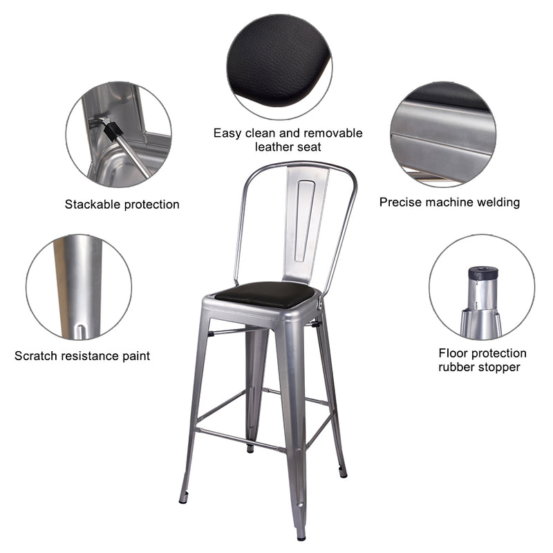 Metal Bar Stool with PU Cushion
