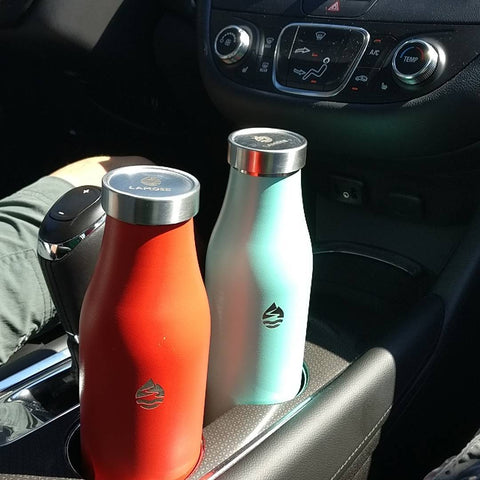 You can safely leave your LAMOSE bottle in your car for long periods of time. It's double wall insulation and food grade steel construction protects your water from contaminants and keeps it at a desirable temperature.