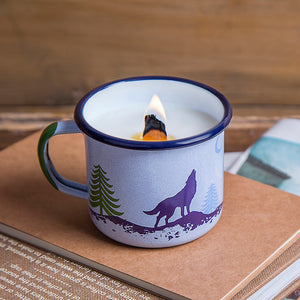 Wolf Enamel Mug with Candle | Forest