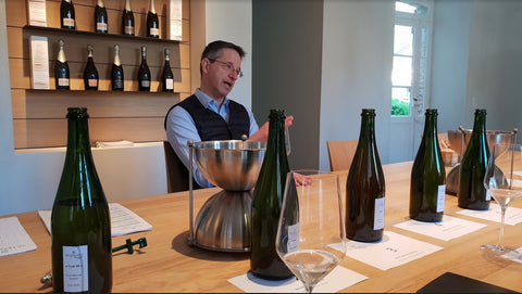 Antoine Malassagne doing a tasting of Vins Clairs at AR Lenoble in Damery April 2018
