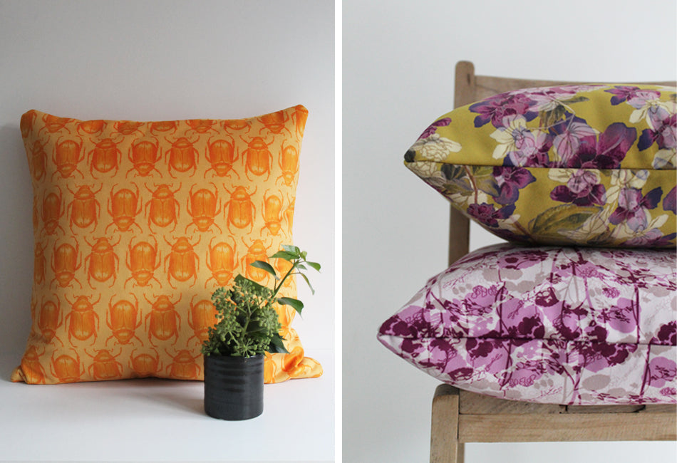 Yellow Beetle and Purple Floral Velvet Cushion