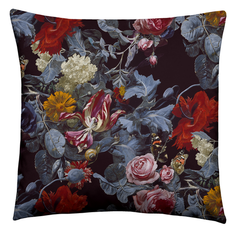 Ashmolean - Tumbling Rose Garden Piped Velvet Cushion