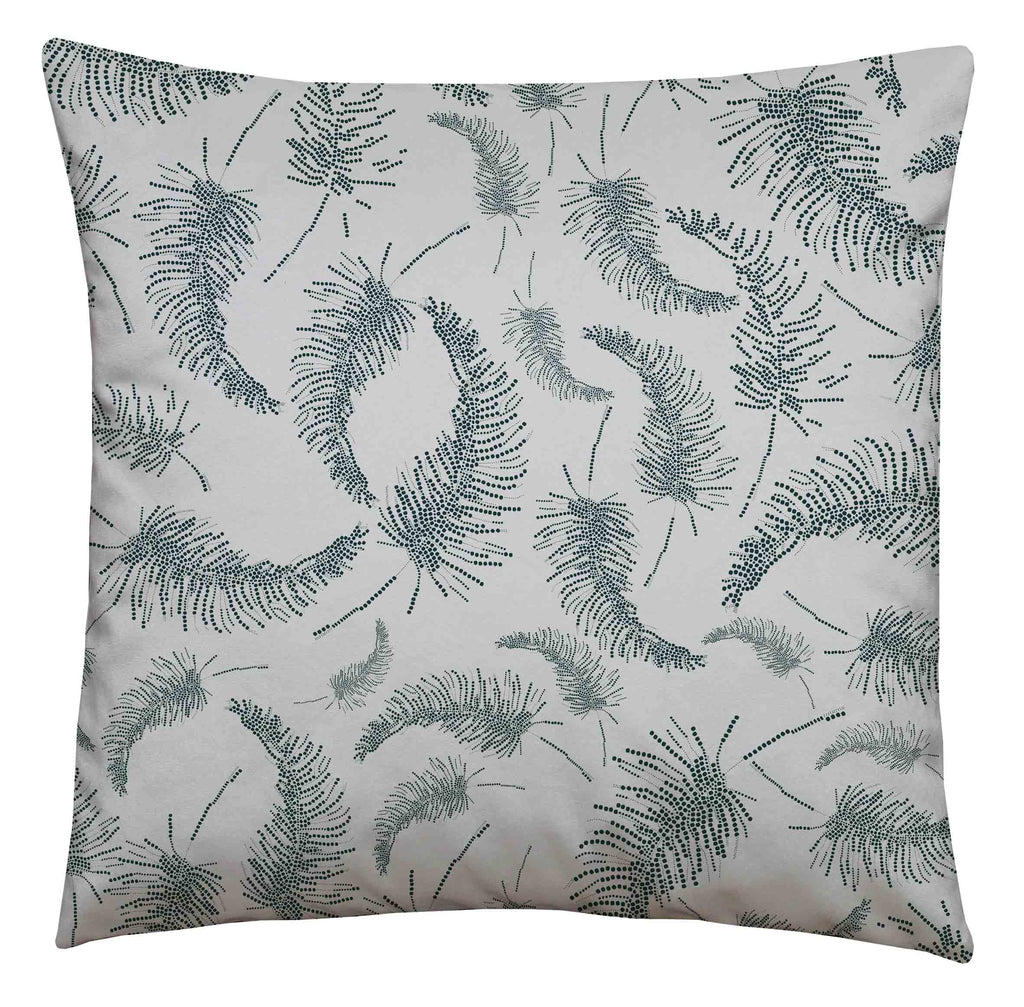 Palm Feather Teal Square Cushion