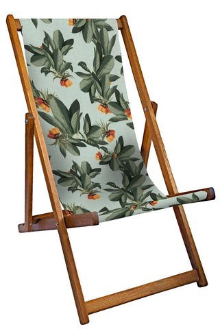 Tropical Leaves Deckchair - Duck Egg